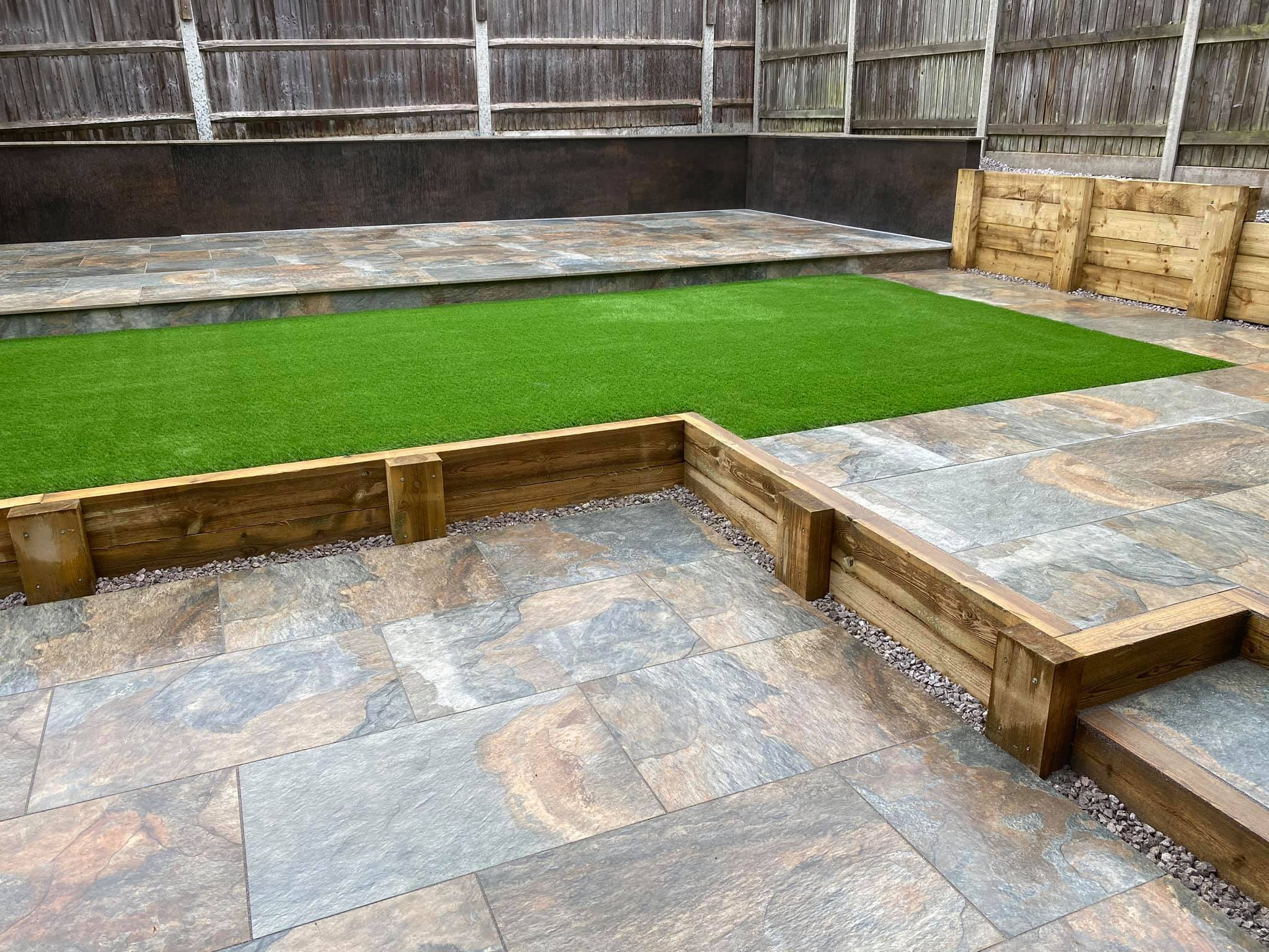 patio with grass area